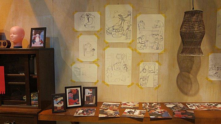 《團圓》的鉛筆草稿及插畫