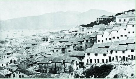 當年的太平山街,密密麻麻是房屋 (圖片來源﹕互聯網)